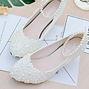 cheap Wedding Garters-Women's Shoes Lace / PU(Polyurethane) Spring / Fall Slingback Wedding Shoes Low Heel Beading / Imitation Pearl / Appliques White