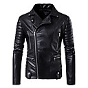 cheap Men's Boots-Men's Daily / Club Street chic Fall / Winter Regular Leather Jacket, Solid Colored Notch Lapel Long Sleeve PU Black XXXL / XXXXL / XXXXXL