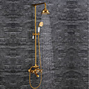 cheap Faucet Sets-Shower Faucet - Contemporary / Luxury / Glam Ti-PVD Wall Mounted Ceramic Valve / Brass / Two Handles Two Holes