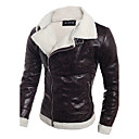 cheap Videogame Cosplay Accessories-Men's Daily / Weekend Fall / Winter Regular Leather Jacket, Solid Colored Black & White V Neck Long Sleeve PU Black / Light Brown L / XL / XXL / Slim