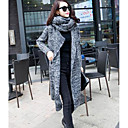 cheap Women's Boots-Women's Long Sleeve Cotton Loose Long Cardigan - Solid Colored / Geometric Shirt Collar / Fall / Winter