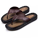 cheap Men's Sandals-Men's Light Soles Cowhide Spring / Summer Slippers & Flip-Flops Walking Shoes Light Brown / Dark Brown