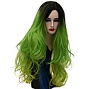 cheap Eye Kits & Palettes-Synthetic Wig Natural Wave Green Green Synthetic Hair Women's Ombre Hair Green Wig Long Capless