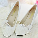 cheap Wedding Shoes-Women's Shoes Lace PU Spring Fall Slingback Wedding Shoes Cone Heel Pointed Toe Round Toe Rhinestone Bowknot Beading Imitation Pearl
