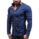 cheap Bakeware-Men's Party Street chic Plus Size Cotton Slim Shirt - Solid Colored Basic Spread Collar / Long Sleeve