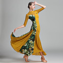 cheap Ballroom Dance Wear-Ballroom Dance Women's Tulle Lycra Ice Silk Pattern / Print Splicing Half Sleeves Natural Dress