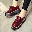 olcso Női topánkák és vászoncipők-Női Cipő Lakkbőr Ősz Kényelmes Félcipők mert Hétköznapi Fekete Burgundi vörös