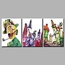 זול ציורי שמן-ציור שמן צבוע-Hang מצויר ביד - מופשט אומנותי גאומטרי מופשט (אבסטרקטי) בַּד