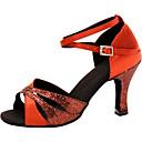 preiswerte Herren Turnschuhe-Damen Schuhe für den lateinamerikanischen Tanz Seide Sandalen Überkreuzte Rüschen Stöckelabsatz Maßfertigung Tanzschuhe Rot / Leistung / Leder