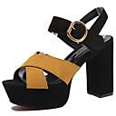baratos Sandálias Femininas-Mulheres Sapatos Couro Ecológico Primavera / Verão Conforto / Gladiador / Plataforma Básica Sandálias Salto Robusto Peep Toe Presilha