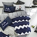 cheap Geometric Duvet Covers-Geometric 4 Piece Cotton Cotton 4pcs (1 Duvet Cover, 1 Flat Sheet, 2 Shams)