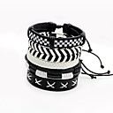 cheap Men's Bracelets-Men's Women's Layered Wrap Bracelet - Leather Twist Circle Multi Layer Bracelet White For Stage Street