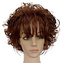 cheap Synthetic Capless Wigs-Synthetic Wig Curly With Bangs Synthetic Hair African American Wig Brown Wig Women's Short Capless Brown
