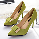 cheap Earrings-Women's Shoes PU(Polyurethane) Spring Comfort Heels Stiletto Heel Pointed Toe Black / Gray / Green