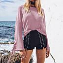 preiswerte LED Glühbirnen-Damen Standard Pullover-Ausgehen Lässig/Alltäglich Sexy Niedlich Solide Rundhalsausschnitt Langarm Baumwolle Herbst Winter Mittel