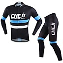 cheap Cycling Pants, Shorts, Tights-cheji® Men's Long Sleeves Cycling Jersey with Tights Bike Clothing Suits, Quick Dry