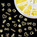 cheap Keychains-new 3d gold metal nail art sticker design tiny slice diy nail accessories