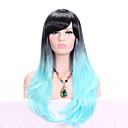 abordables Pelucas para Disfraz-Pelucas sintéticas Ondulado Con flequillo Pelo sintético Pelo Ombre / Raíces oscuras Azul Peluca Mujer Larga Sin Tapa Negro / azul