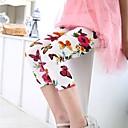 זול מכנסיים וטייץ לבנות-בנות כותנה מכנסיים - פרחוני לבן