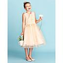 זול תיקי צד-גזרת A / נסיכה באורך  הברך שמלה לנערת הפרחים - תחרה / טול ללא שרוולים עם תכשיטים עם אפליקציות / פפיון(ים) על ידי LAN TING BRIDE®
