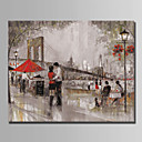 cheap Oil Paintings-Oil Painting Hand Painted - Landscape Modern Canvas / Rolled Canvas