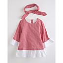 tanie Sukienki dla dziewczynek-Brzdąc Dla dziewczynek Kratka Kratka Długi rękaw Bawełna Sukienka Czerwony 100