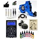 abordables Pendientes-Máquina de tatuaje Equipo para Principiantes - 1 pcs máquinas de tatuaje con 7 x 15 ml tintas de tatuaje, Profesional Fuente de