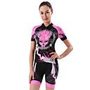 olcso Kerékpáros mezek és rövidnadrág/nadrág szettek-cheji® Női Rövid ujjú Keréspáros dzsörzé nadrággal - Rózsaszín Bike Ruházati kollekciók, 3D-s párna, Gyors szárítás Festmény
