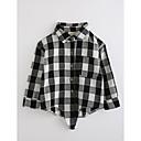 tanie Zestawy ubrań dla chłopców-Dla chłopców Kratka Długi rękaw Bawełna Koszula Czarny