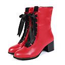 זול מוקסינים לנשים-בגדי ריקוד נשים נעליים PU אביב / קיץ נוחות / חדשני / מגפיים אופנתיים מגפיים בוהן עגולה מגפונים\מגף קרסול שרוכים שחור / צהוב / אדום