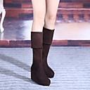 abordables Patinetes-Mujer Zapatos Vellón Invierno Confort Botas Tacón Cuña Dedo redondo Hasta la Rodilla Negro / Marrón