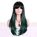 cheap Costume Wigs-Synthetic Wig Wavy With Bangs Synthetic Hair Ombre Hair / Dark Roots Green Wig Women's Long Capless