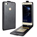 baratos Capinhas para Celular & Protetores de Tela-Capinha Para Huawei P10 Lite Porta-Cartão Flip Capa Proteção Completa Côr Sólida Rígida PU Leather para P10 Lite P8 Lite (2017) Honor 9