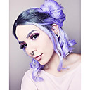 cheap Synthetic Lace Wigs-Synthetic Lace Front Wig Women's Wavy Black Synthetic Hair Ombre Hair / Dark Roots / Middle Part Black / Purple Wig Medium Length Lace Front Black / Purple