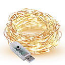 billige LED-stringlys-10 m Lysslynger 100 LED SMD 0603 Varm hvit / Hvit / Multifarget Dekorativ USB-ladet 1pc / IP65