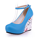 cheap Women's Heels-Women's Shoes PU(Polyurethane) Fall / Winter Comfort Heels Stiletto Heel / Wedge Heel Round Toe Buckle Beige / Blue / Almond / Wedding