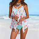 cheap Speakers-Women's Boho Halter Multi-piece - Floral Ruffle Print High Waist
