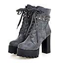 cheap Fishing Reels-Women's Shoes Suede Fall / Winter Comfort / Novelty / Fashion Boots Boots Chunky Heel Round Toe Booties / Ankle Boots Rivet / Lace-up