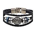 cheap Men's Bracelets-Men's Leather Bracelet - Leather Flower Personalized, Vintage Bracelet Black For Casual / Club