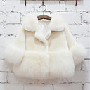 cheap Girls' Clothing Sets-Girls' Solid Jacket & Coat, Faux Fur Special Fur Type Winter Long Sleeves White