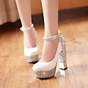 cheap Latin Shoes-Women's Shoes PU(Polyurethane) Spring / Fall Comfort / Novelty Heels Chunky Heel Round Toe Buckle White / Black / Wedding