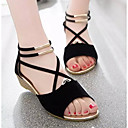 cheap Women's Sandals-Women's Shoes Nubuck leather / Suede Spring / Summer Comfort Sandals Wedge Heel Black / Red / Blue