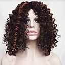 cheap Synthetic Capless Wigs-Synthetic Wig Wavy / Jerry Curl Bob Haircut / With Bangs Synthetic Hair Highlighted / Balayage Hair Brown Wig Women's Short / Medium Length Capless