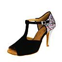 olcso Latin cipők-Női Latin cipők Pihe Szandál Csat / Fénylő Tűsarok Személyre szabható Dance Shoes Fekete / Teljesítmény / Bőr