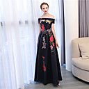 cheap Party Sashes-A-Line Off Shoulder Ankle Length Satin / Satin Chiffon Formal Evening Dress with Embroidery by LAN TING Express