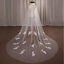 cheap Party Supplies-One-tier Wedding Veil Cathedral Veils with Appliques Lace / Tulle / Angel cut / Waterfall