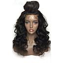 hesapli Kapatma & Ön Taraf-Gerçek Saç Ön Dantel Peruk Düz Brezilya Saçı Derin Dalga Katmanlı Saç Kesimi % 130 Yoğunluk Doğal saç çizgisi / Siyahi Kadınlar İçin / 100% bakire Kadın's Şort / Orta / Uzun Gerçek Saç Örme Peruklar
