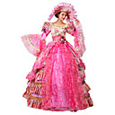 abordables Disfraces Históricos y Vintage-Victoriano Rococó Disfraz Mujer Vestidos Baile de Máscaras Ropa de Fiesta Rojo Cosecha Cosplay Tela de Encaje Organdí Lino Satín Manga