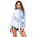 cheap Women's Heels-Women's Holiday / Going out Cotton Shirt - Striped / Color Block Bow / Ruffle / Patchwork Stand Blue