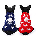 cheap Dog Clothes-Dog Sweater Dog Clothes Stars Red Blue Chinlon Costume For Pets Casual/Daily